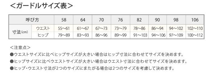 ガードルサイズ表